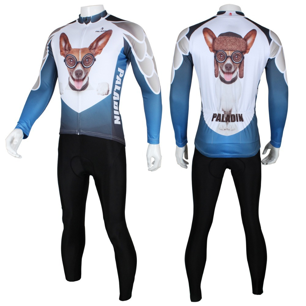 3D Beverly Hills Chihuahua Men Long sleeve Cycling Jersey Fashion Polyester bike / bicycle shirt Blue Breathable cycling Clothes - Y2Y store