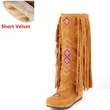 TAOFFEN Mode Chinesischen Nation Stil Flock Leder Frauen Fringe Flache Heels Lange Stiefel Frau Quaste Kniehohe Stiefel Größe 34 -43(China)