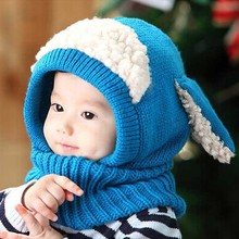 Kids Siamese Scarf Winter Baby Wool Winter Hat Hot Sale Beanie Hats Hooded Scarf Earflap Knit Cap Toddler Cute Chrismas Gift a2(China (Mainland))
