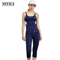 Women s sports suit 2016 sleeveless top tingh capri pants yoga set breathable stretch well absorbent