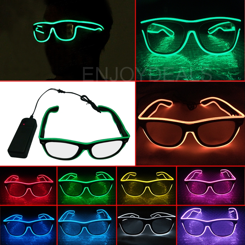 NEW El Wire Glow Sun Glasses Led DJ Bright Light Safety Light Up Multicolor Frame Voice control led flashing glasses 10 Colour