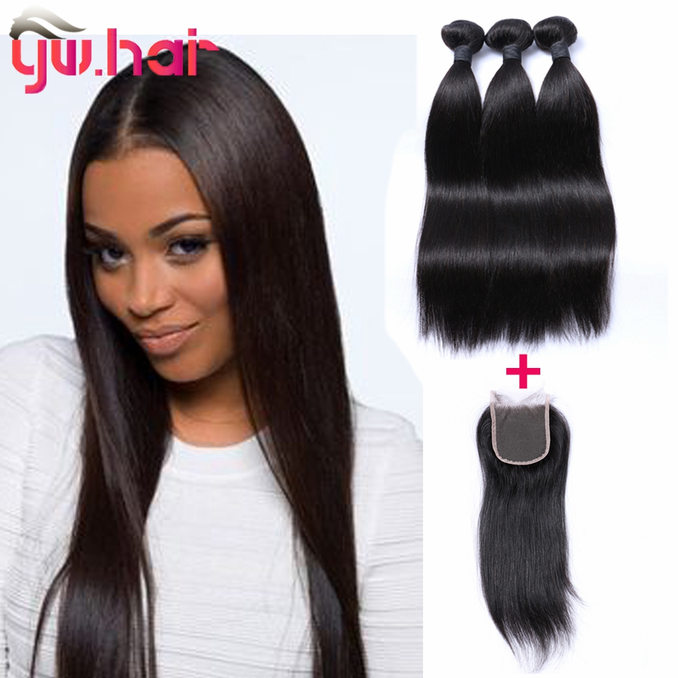 Unprocessed Brazilian Virgin Hair Straight With Closure 3 Hair Bundles With Lace Closure 1B Human Hair Extension With Closure<br><br>Aliexpress