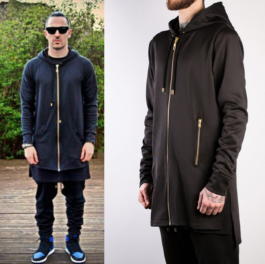 Cool Side Split Hoodie Men Long Zipper Brand Extended: replica designer clothes uk