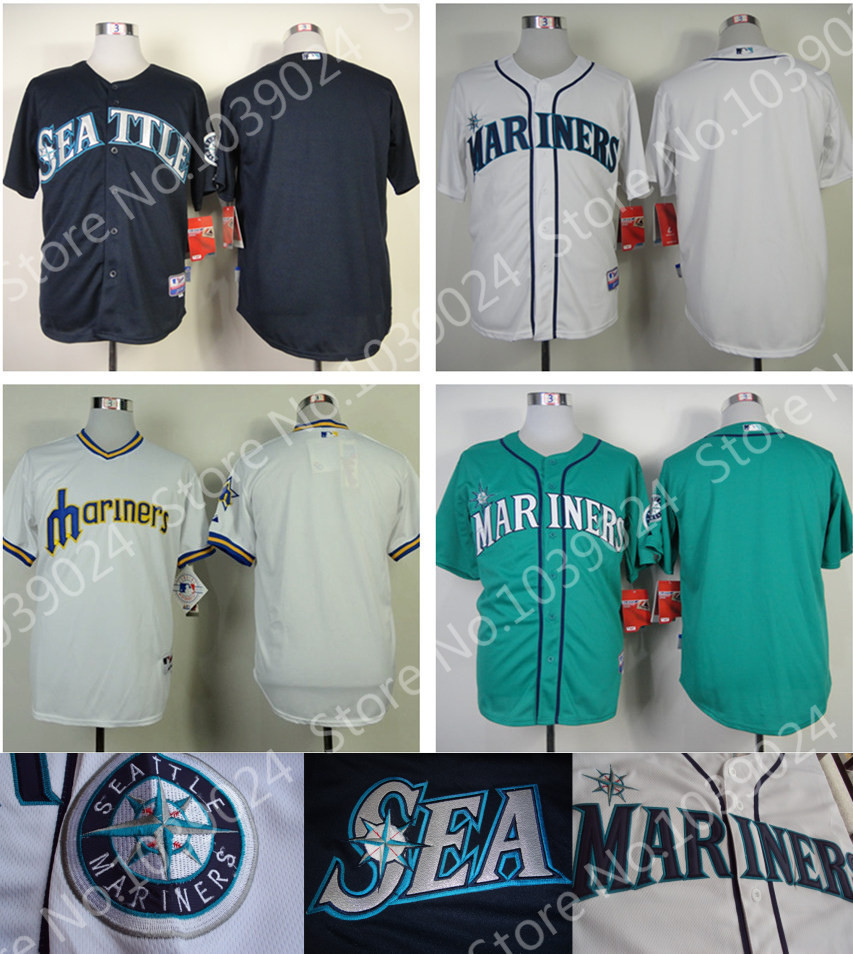 Blank Seattle Mariners Baseball Jersey Southwest green,Navy Blue,White,Retro No Name No Number Special offer(China (Mainland))