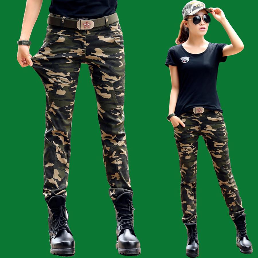 Модные камуфляжные штаны женские