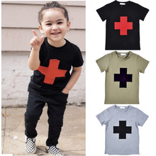 summer Kikikids boys Kids t shirt fashion children shortsleeved tshirt Cartoon cross pattern printing coat brand clothes for boy