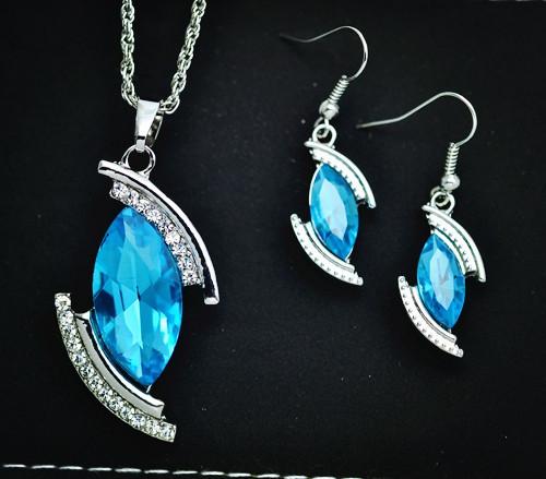 fashion crystal jewelry set Austria rhinestone moon drop pendant necklace earring gift women lovers S740 - just do my best store