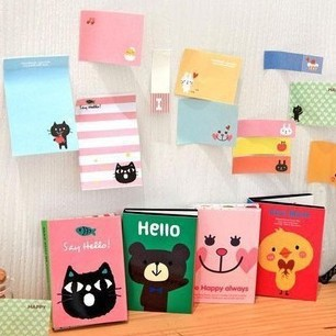 2 sets/lot DIY Cute Animal Cat Bear Memo Pad Sticky Note Kawaii Paper Sticker Pads Creative Gift Stationery Free shipping 329(China (Mainland))