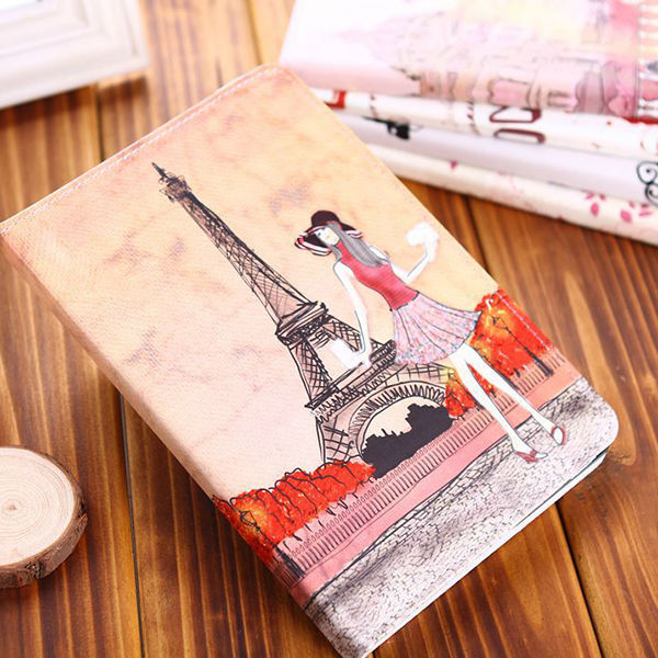 Hot! Vintage PU Leather Smart Stand Holder Cover Apple iPad Mini 1 2 3 Pink Girl Paris Eiffel Tower Case stock - Amyrainy Store store