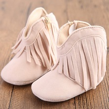 Moccasin Moccs Newborn Baby Girl Boy Kids Prewalker Solid Fringe Shoes Infant Toddler Soft Soled Anti-slip Boots Booties 0-1Yea(China (Mainland))