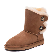 Top Quality Genuine Sheepskin Snow Boots 100% Natural Fur Real Wool Women Winter Snow Boots Mid-calf Women Boots Free Shipping(China (Mainland))