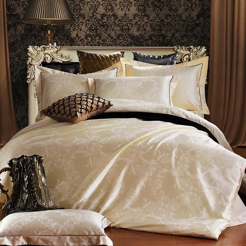 home textile bedding set jacquard luxury cotton bed set bed cover sheet 4pcs set queen king. Black Bedroom Furniture Sets. Home Design Ideas