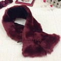 2016 New Fashion Rabbit Fur Collar Twilly Scarf Luxury Brand Designer Winter Scarves For Women Girls