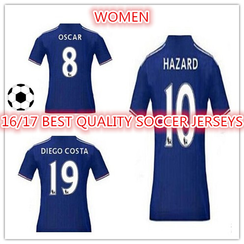 New Top Quality 2016 2017 WOMEN OF Chelseaes 16 17 home blue HAZARD DIEGO COSTA CUSTOM shirt free shipping ZZ(China (Mainland))