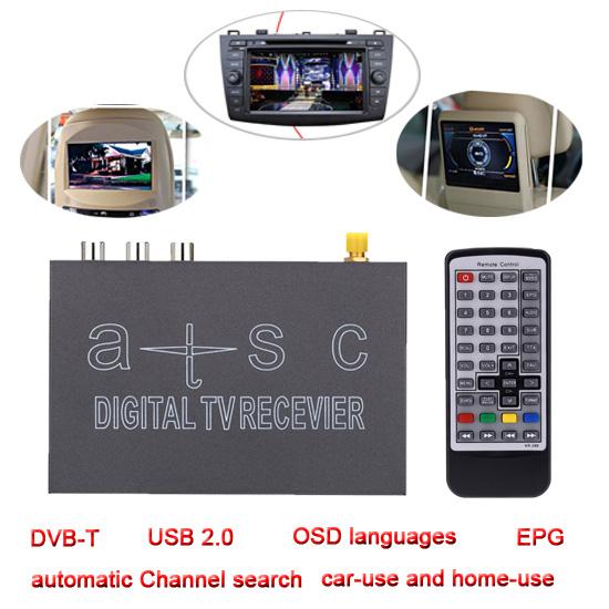 ATSC/NTSC Mini Decoding Mobile Car Digital TV Box Analog TV Tuner Channel Receiver USB2.0 RCA MPEG MPG MOV Set Up TV Box All use(China (Mainland))
