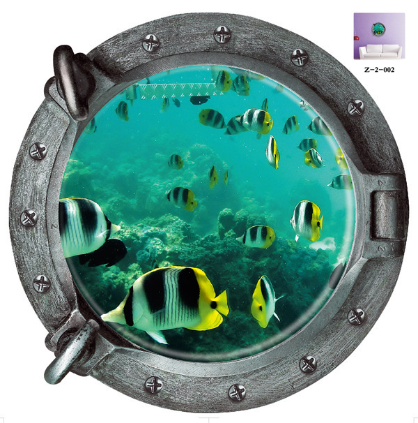 3D Underwater World Submarine Wall Stickers Colorful Tropical Fish Refrigerator Vinyl Art Home Decor Bathroom Mural Decal Art(China (Mainland))