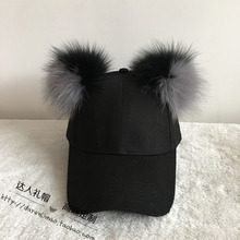 Baseball cap is fox double badminton is black ash double color female equestrian cap cap hat(China (Mainland))