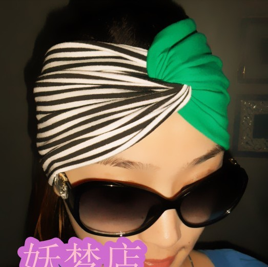 Fashion spring summer emerald headbands black white stripes cross green wide ribbon bandanas hair bands - Women's Headbands store