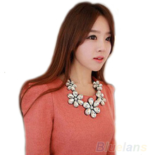 New Fashion exquisite Flower Ribbon Gem Petals charming Bib collar Necklace jewelry items 05FA