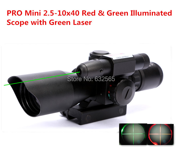 Tactical Pro Mini 2.5-10x40 Hunting Green Laser Sight Red &amp; Green Dot Illuminated Scope + Free Shipping<br><br>Aliexpress
