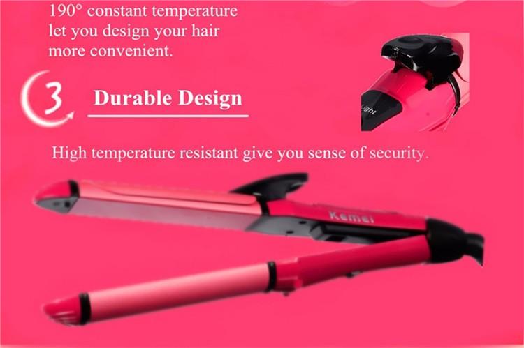 Professional Kemei KM-1055 2in1 Straightener Irons Hair Curler Flat Iron Straightening Styling Tools  Iron Curling Ceramic Wave
