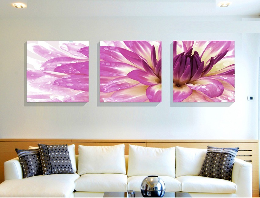 Hot sale oil paint decorative pictures modern flower paintings 3 piece canvas print wall art modular painting on decoration