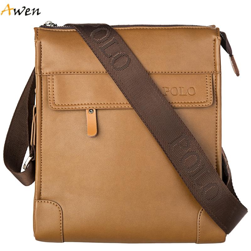 Awen - Luxury Famous Brand Zipper Open Casual Leather Men Bag,Promotional Leather Shoulder Bag For Men,Business Messenger Bag(China (Mainland))