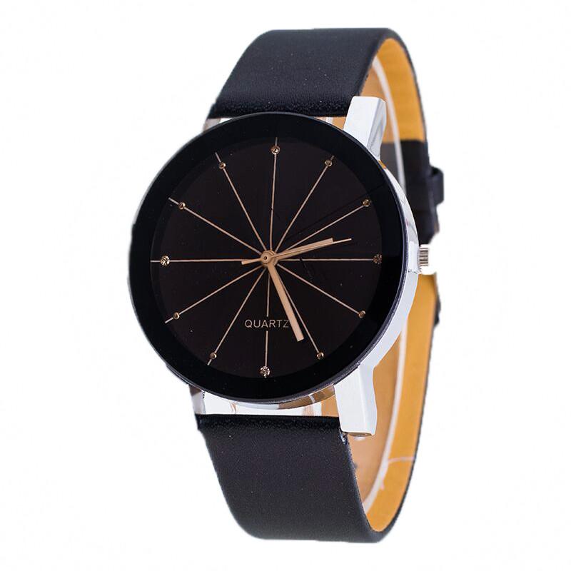 Relojes Hombre 2016 Top Qualty Men Quartz Dial Glass Clock Leather Business Wristwatch Relogios Masculinos Round Case Watch Man