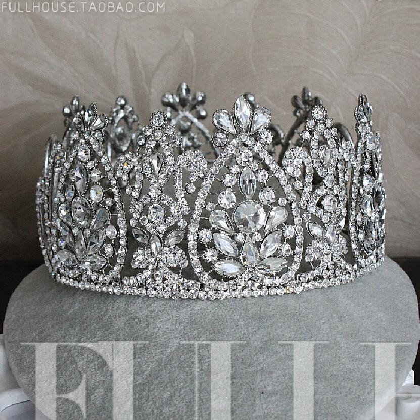 2015 New Fahion Wedding bridal hair accessories sparkly crystal tiara Vintage Big crown women hair accessories XB1045(China (Mainland))