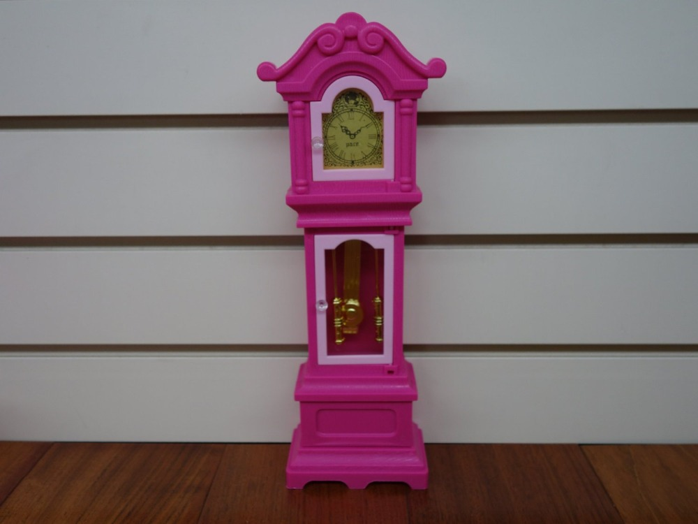 Plastic Pink Living Room Standing Grandfather Clock Doll Size Dollhouse Furniture for Doll Hot Selling Children Gift(China (Mainland))