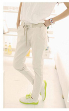New 2016 Women Pants Solid Color Drawstring Elastic Waist Comfy Full Length Casual Cotton Harem Pants Trousers leggings(China (Mainland))