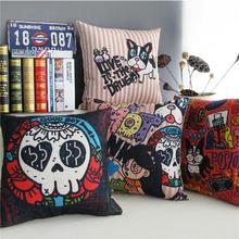 Graffiti Cartoon Skull Dog Pillow Linen Cushion