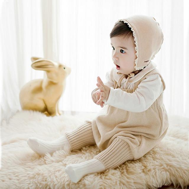 Ползунки Для Новорожденных Вязать Целом Младенческой Хлопок Нагрудник Детские Брюки Мальчики Девочки Восхождение Одежды Одним Pieces Одежда Мило комбинезон