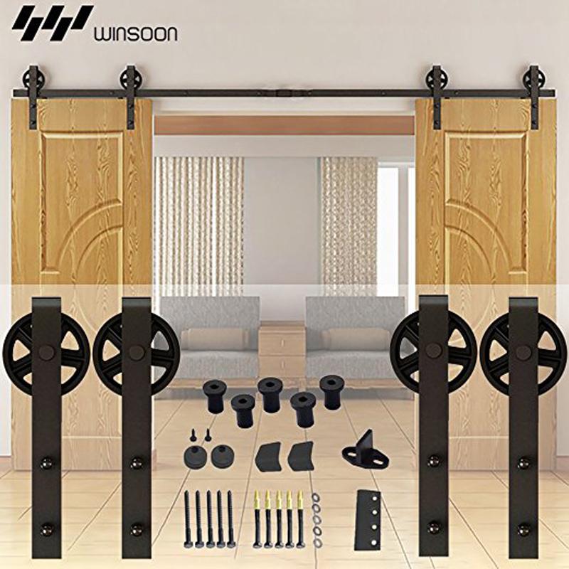 13FT Indoor Black Double Barn Door Wood Hardware Roller Track Big Wheel Antique Sliding Door Hardware Steel Rail Set(China (Mainland))
