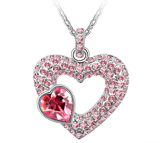 Heart Pendant  Wedding Necklace Crystals from SWAROVSKI  (8- colors)