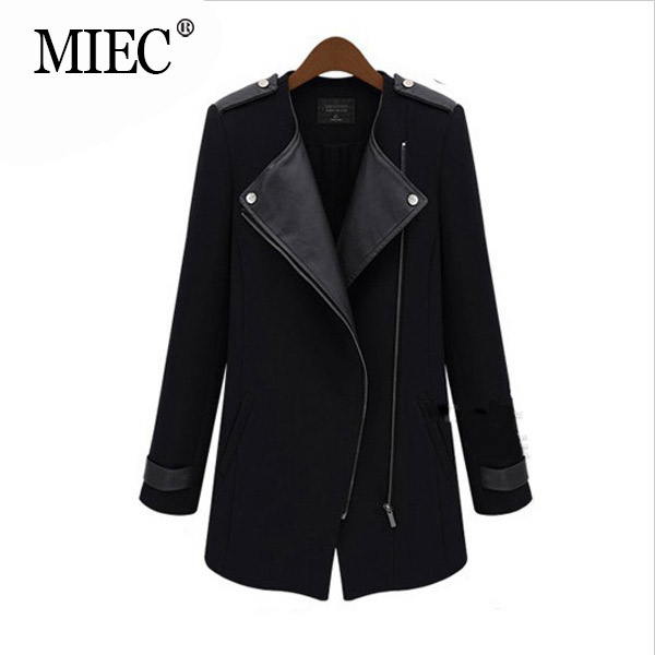 MIEC Jackets Women Autumn Spring Woolen Coat Woman Fashion Long Sleeve PU Leather Jacket Casual Slim Outerwear Plus Size 5XL - Apparel Co., Ltd. store