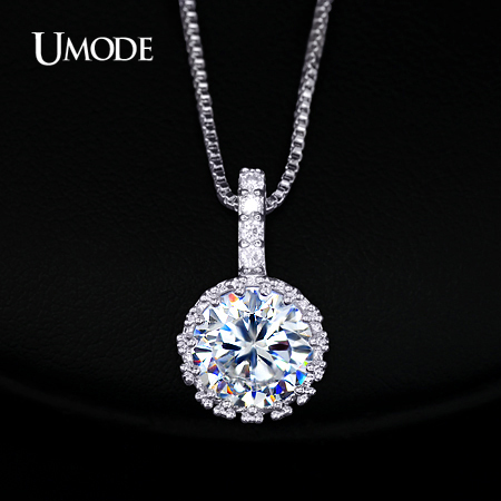 UMODE Multi Prongs Synthetic Diamond Pendant Necklaces Hearts and Arrows CZ Pendant Necklace with 8mm 2ct Cubic Zirconia UN0060(China (Mainland))