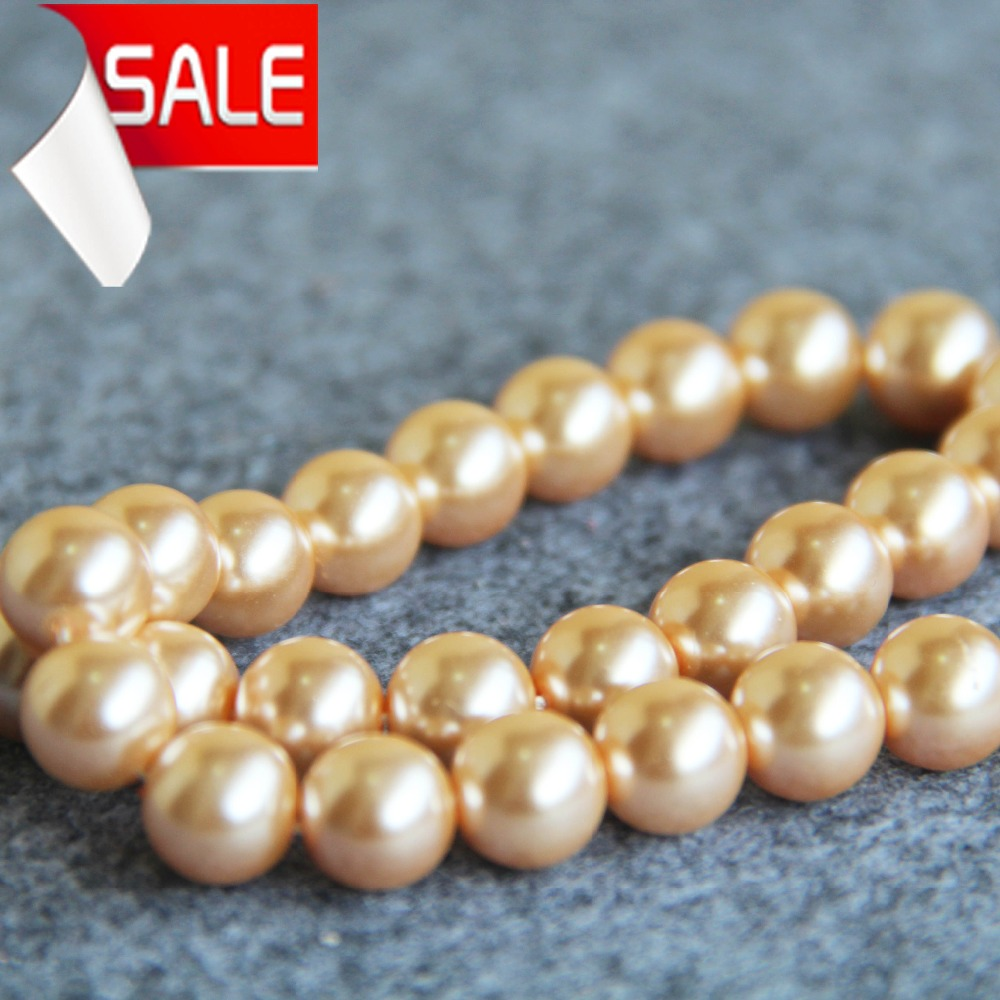 New For Necklace&Bracelet 10mm Light Gold Shell Pearl Beads DIY Gifts For Women Girl Loose Beads Jewelry Making Design 15inch(China (Mainland))
