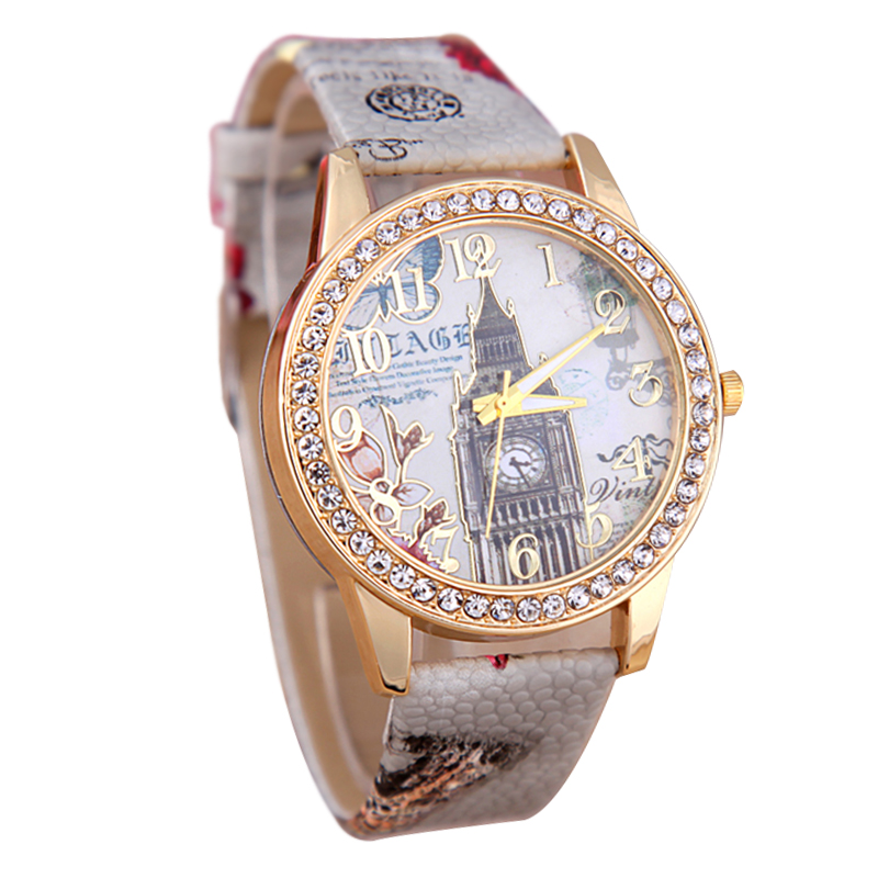 Hot Brand Watch Women Fashion Casual Quartz Watches Torre di Pisa Leather Watches Women Wristwatch C