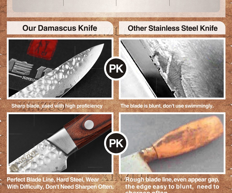 """Buy XINZUO 3.5"""" inch fruit knife Damascus kitchen knives surper sharp paring kitchen knife utility knife wood handle FREE SHIPPING cheap"""