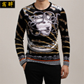 Snake demon Medusa totem printing quality gold velvet t shirt 2016 Autumn Winter new European fashion