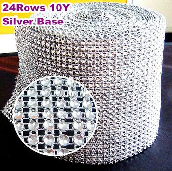 Fashion Sew On 24Rows High Quality rhinestone Mesh Trim 4mm Silver 10yards/roll Free shipping Plastic base for Garment B2225