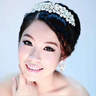 !Luxury Shining White Crystal Hair Accessories Crown Tiara Bridal Jewelry Earrings Wedding Accessory QHG022 - ELEVEN JEWELRY store