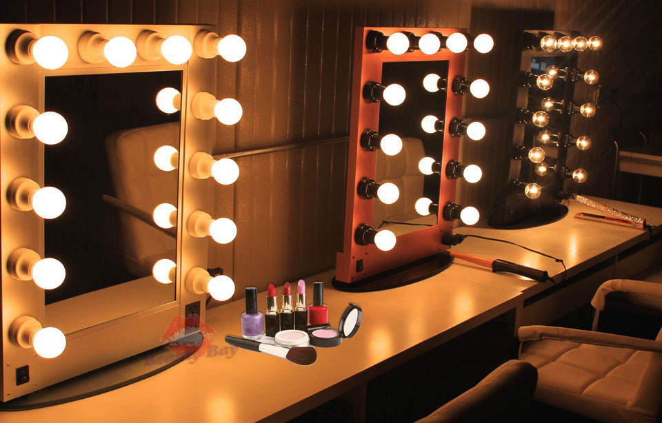 Wall Mounted Makeup Lights : Hollywood Aluminum Aluminium Table Desktop Wall Mounted Cosmetic Makeup Vanity Mirror With ...