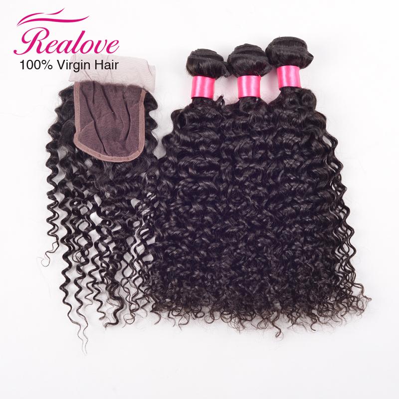 Здесь можно купить  6A Brazilian Water Wave With Closure 4 Pcs Lot Wet And Wavy Virgin Brazilian Hair With Closure Hair Bundles With Lace Closures  Волосы и аксессуары