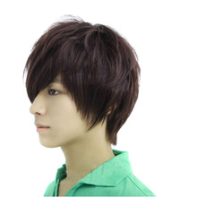 Fashion Men Neutral Short Full Wig Dark Brown Curly Wig Cosplay    (China (Mainland))