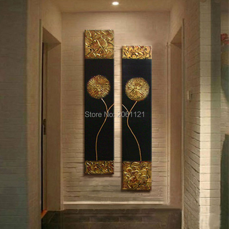 2018 Hand Painted Modern Abstract Gold Black Oil Painting Large ...