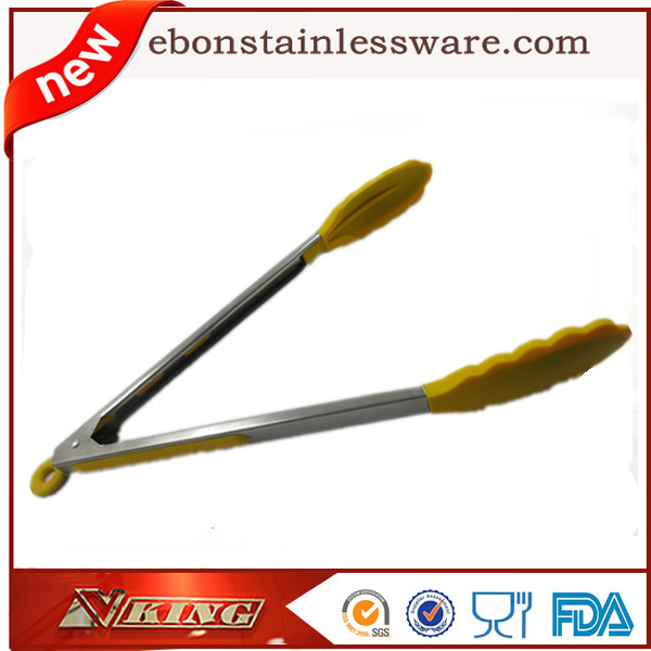 33cm Yellow Stainless Steel Food Tong Scallop Tongs Cook Tools Free Shipping(China (Mainland))