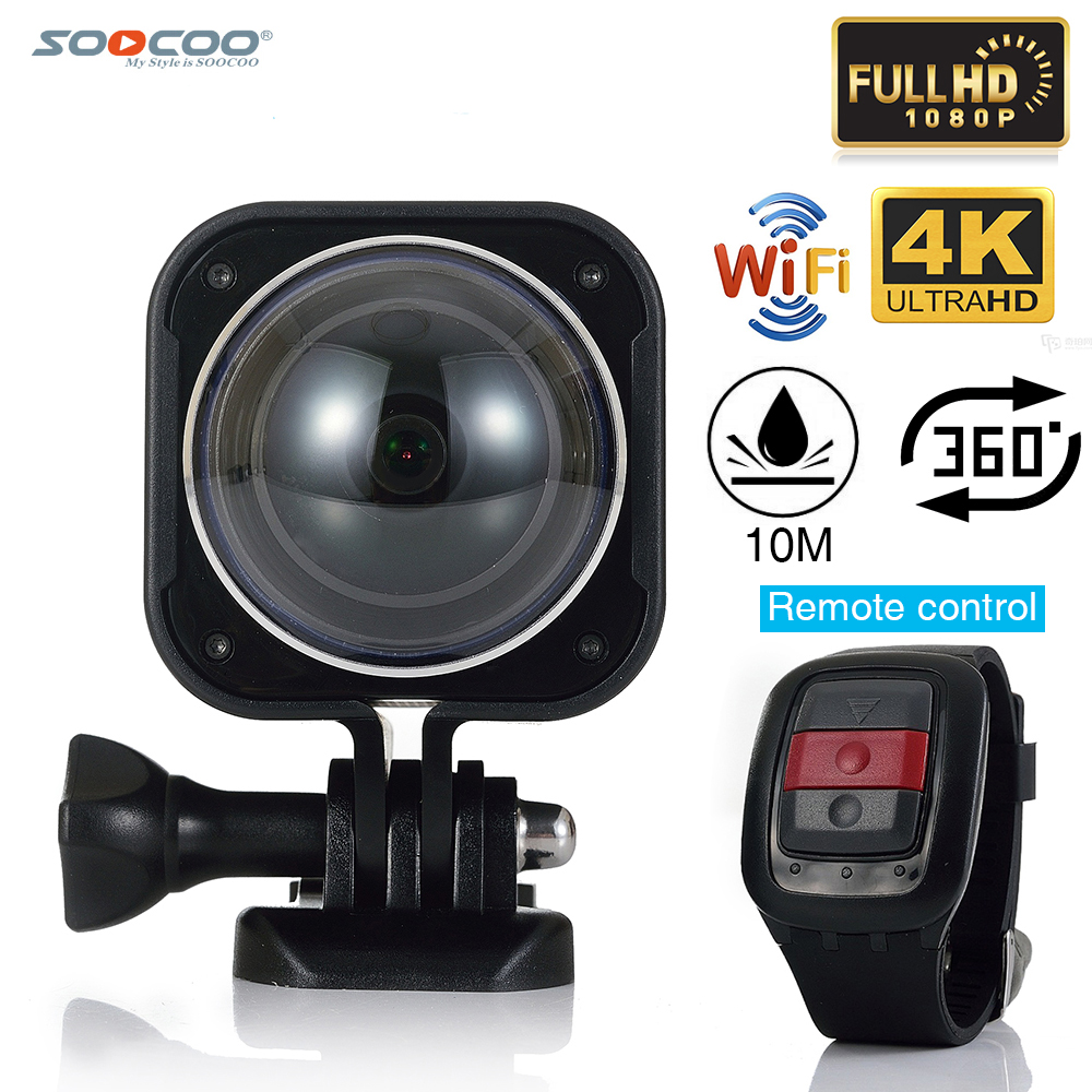 SOOCOO CUBE360H WiFi 4K Waterproof Mini Outdoor Sports Action Camera 360 Wide-Angle Video Cam With Remote Control Watch(China (Mainland))