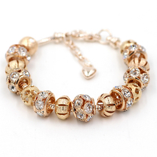 New Arrival Love 18K Gold Plated Bead Charm Bracelet With Crystal Women DIY Fit Bracelets & Bangles Fine Jewelry YWSL018(China (Mainland))